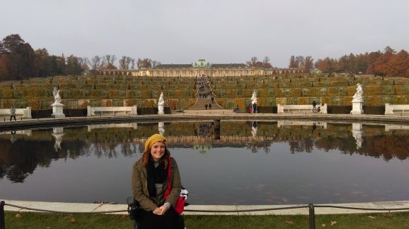 Sanssouci is the former summer palace of Frederick the Great, King of Prussia. It was HUGE and had a marvelous garden